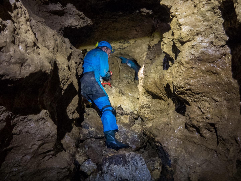 Rivière souterraine de Champdeniers - Eboulis au bout du couloir de Damoclès