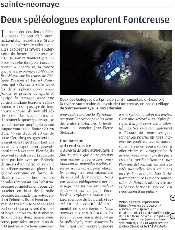 Article NR 20.11.2019 plongée spéléo ste néomaye fontcreuse